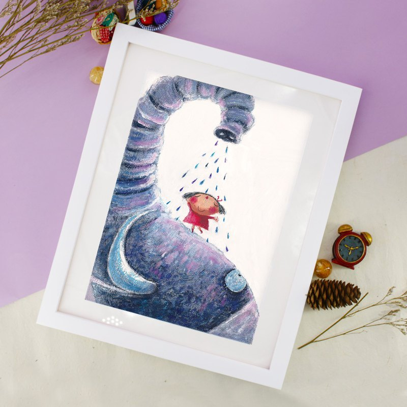 Framed Home Decor Canvas  Print Painting Wall Art - Elephanlt Shower Fun