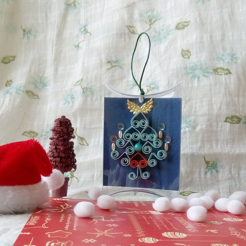 Handmade paper roll Christmas card strap dark blue short box