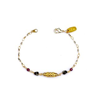 Ficelle | handmade brass natural stone bracelet | [bright memory] Amber expectations