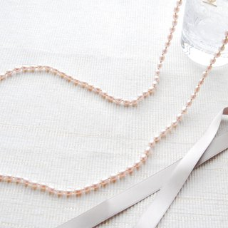 Light pink rice type pearl long necklace 2waytype