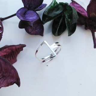 Big staff Taipa [manual silver] bare empty triangle sterling silver ring