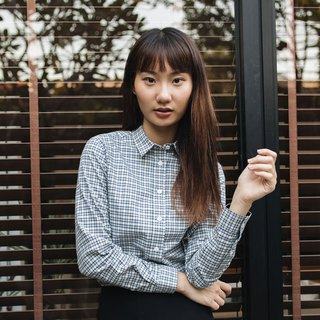 PREMIUM // blue navy check // women long sleeves