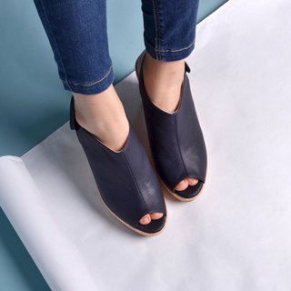 90122 Fish mouth wedge shoes dark blue
