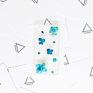Blue Hydrangea • Handpressed Real Dried Flower Phone Case