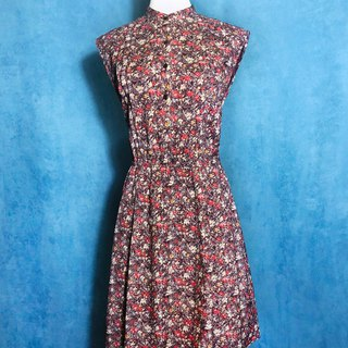 Small stand collar flower sleeveless vintage dress / abroad brought back VINTAGE