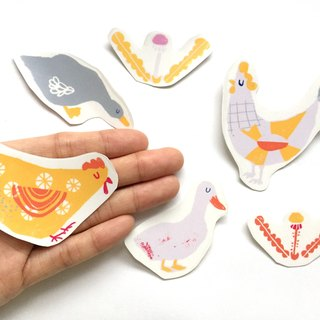Chicken Sticker Pack, 6 Clear Vinyl Sticker Bundle| Barnyard hen and duck, farm stickers for planners, kid stickers