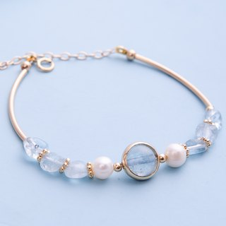 Aquamarine, Pearl,14K Gold Filled Natural Gemstone Crystal Bracelet