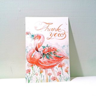 Flamingo Thanksgiving card / double postcard postcard