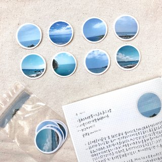 Sea round transparent / white sticker