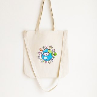 Earth seed double strap canvas tote bag