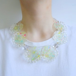 Brighting WHITE - Rainbow の debris - color hand-painted crystal particles glossy transparent baking necklace (crystal sphere paragraph)