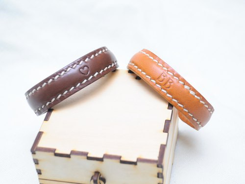 Leather Bangle (A Pair)】 Leather Bag Free Compression Leather Hand-Woven Couple Hand-Wo Leather