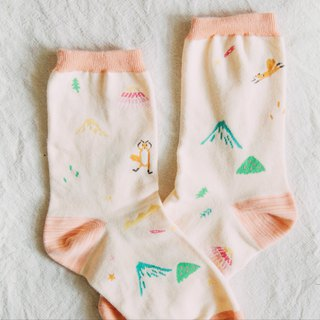 Fun Forest Play - Coral Powder │ Illustrator Cotton Socks