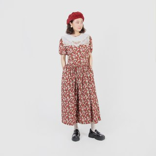 [Egg plant ancient] European style garden Seiko embroidery printing vintage dress