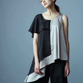 Black and gray single-sleeve blouse