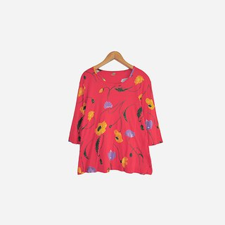Dislocation vintage / red flower seven-point sleeve shirt no.836 vintage