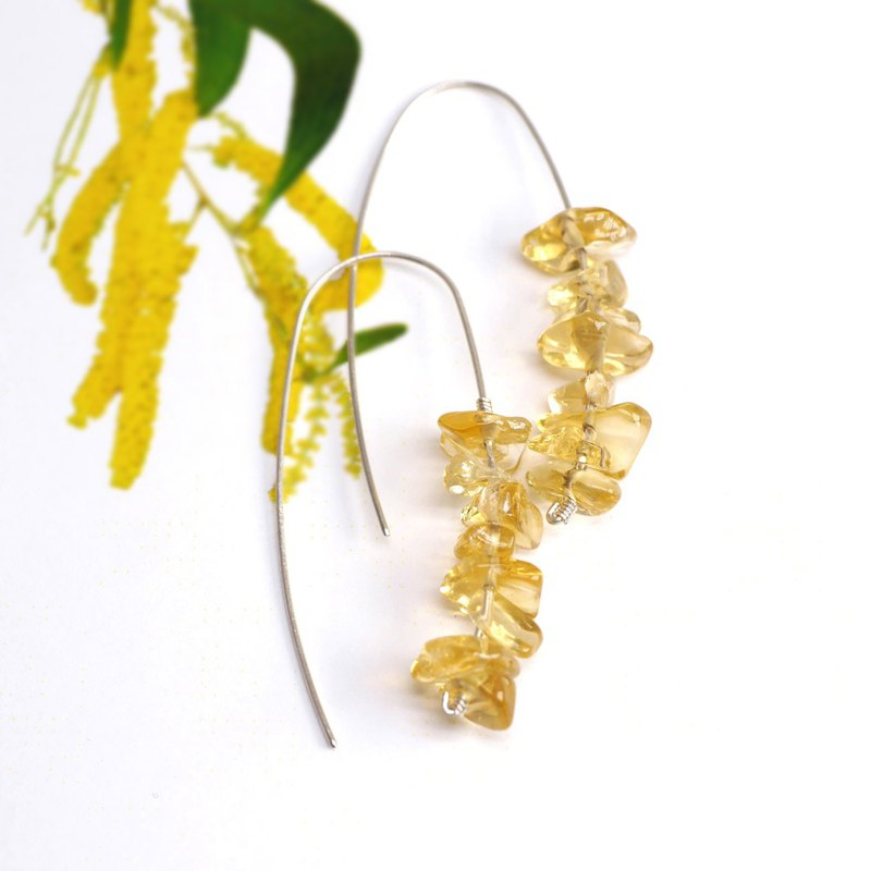 Acacia acacia yellow flower - natural citrine spikes 925 sterling silver long earrings