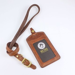 HEYOU Handmade -Leather Card Holder Leather Case Set - Coffee