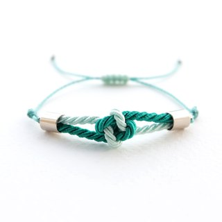 Tiny flower knot rope bracelet in Light mint / Sea green