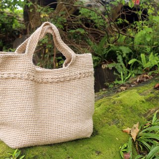 Hand - commute / travel / bag - warm hand knitted hemp rope Tote bag