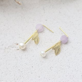 Purple Jade Pearl Brass Earrings 1105 - Musk
