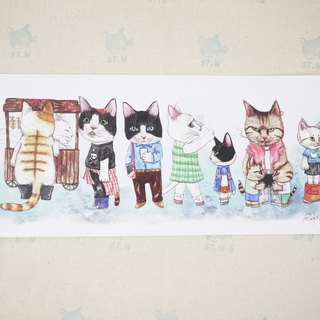 Queuing meow (cat) Postcards