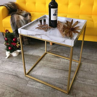 Gold fruit marble imprint tray small side table