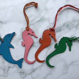 Dolphin Seahorse Pendant / Bag Pendant / Handmade Leather Double Sided Pendant