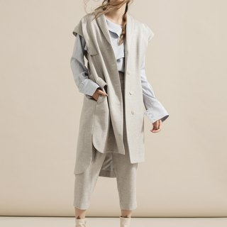 Wool suit long vest