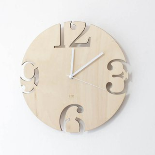 LOO wooden mute wall clock | big numbers