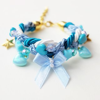Cutie blue bow braided bracelet with charms