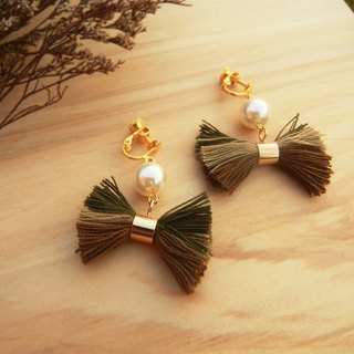 *Coucoubird*earth three-color bow earrings / tassels / pearls