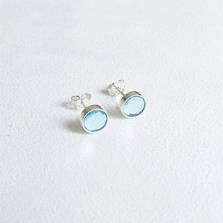 Round glass/Light blue/Earrings/Swarovski Crystal/Sterling Silver/By hand【ZHÀO】SZE1644