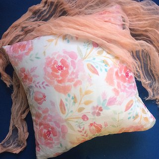 Hand painted watercolor flower illustration pillow