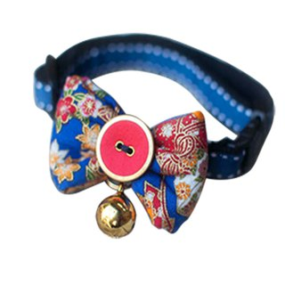 Dog collar bow tie blue-aged flowers
