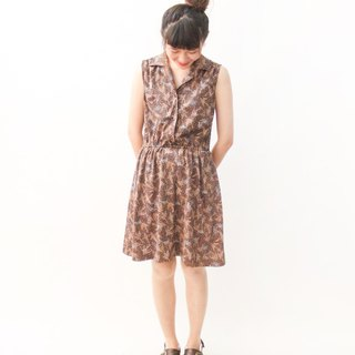 Vintage Brown Geometric Sleeveless Vintage Dress Vintage Dress