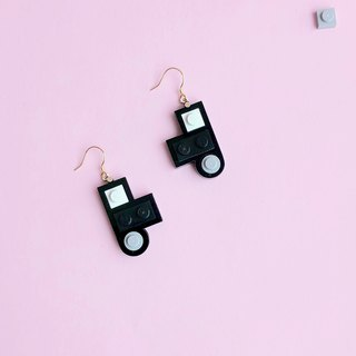 Classic silver earrings LEGO  Black white gray