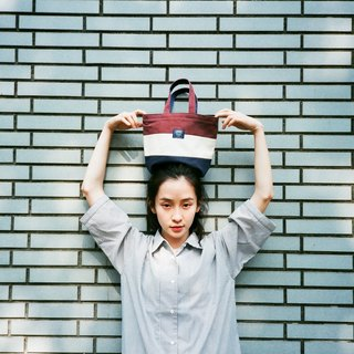 Handy Tote Bag _ Dark Red White White Blue (in stock)