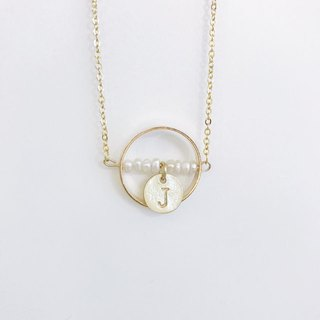 Pearl Golden Necklace Personalized Initial Letter
