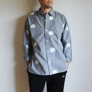 Men's · Gingham check shirt black <Momo and straight-ahead rabbit>