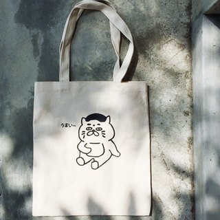Bottomless soft cotton canvas bag - good bread Goro / manual serigraphy