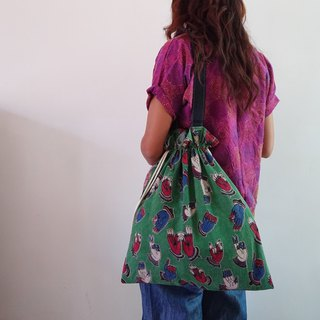 Draw string totebag- Green buddha hands
