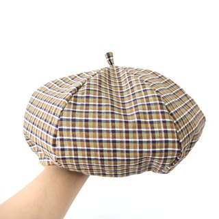 Black and yellow plaid handmade double-sided hexagon hat painter cap