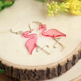 Japanese Handmade Ornaments - Flamingo Earrings