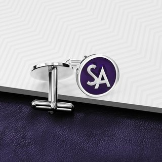 Monogram Cufflinks - Personalized Cufflinks with color - Enamel Cufflinks