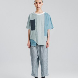 Alan Hu 2018S/S Splicing Continuous Sleeve Top