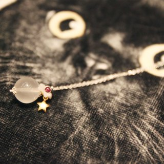 Rose quartz stone (14mm) with gilded stars, mother of pearl and small cherry garnet, 925 sterling silver necklace