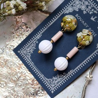 Classical elegant style dry flower earrings (ear clip earrings)