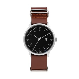 Harold Series Silver Black Dial Brown Military Leather Watch