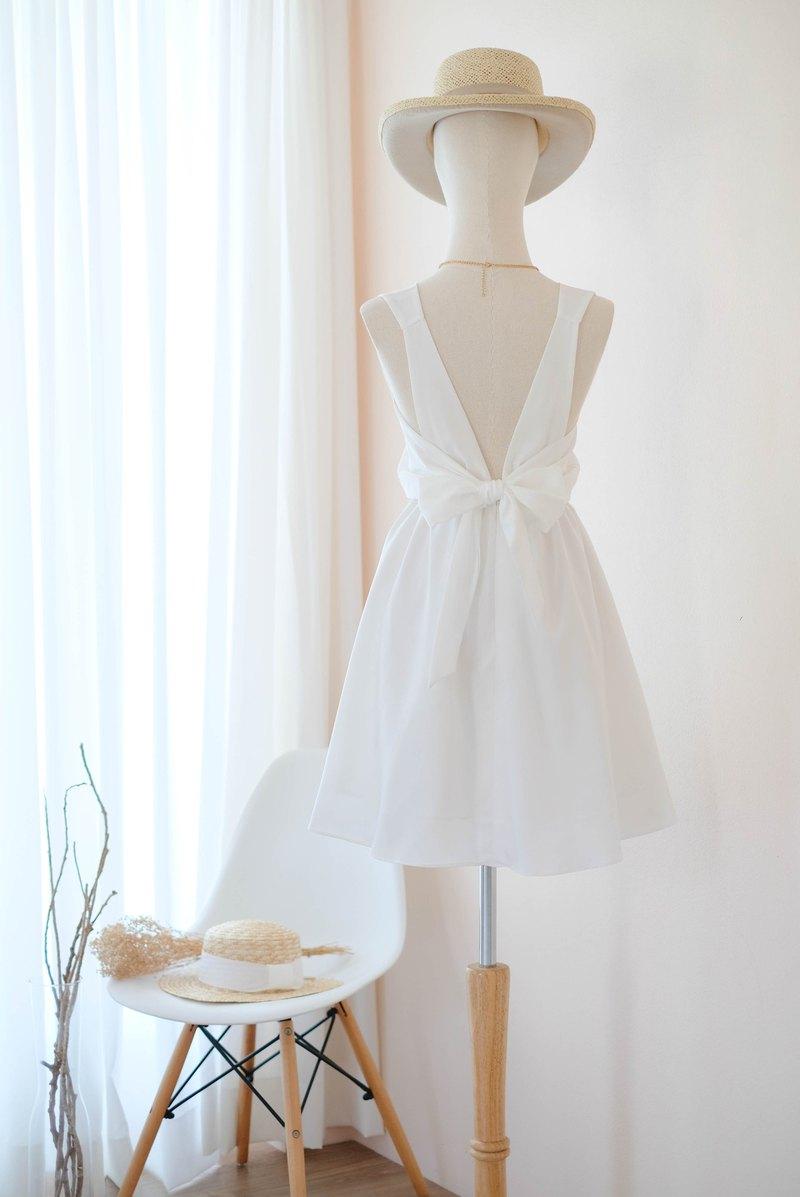 灰白色禮服伴娘禮服露背派對雞尾酒短裙